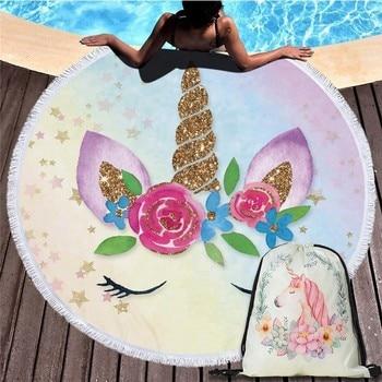 Cartoon Unicorn 150cm Round Beach Towel Wall Tapestry Picnic Blanket Portable Outdoor Sport Storage Bag Bundle Pocket Kids Gift 17