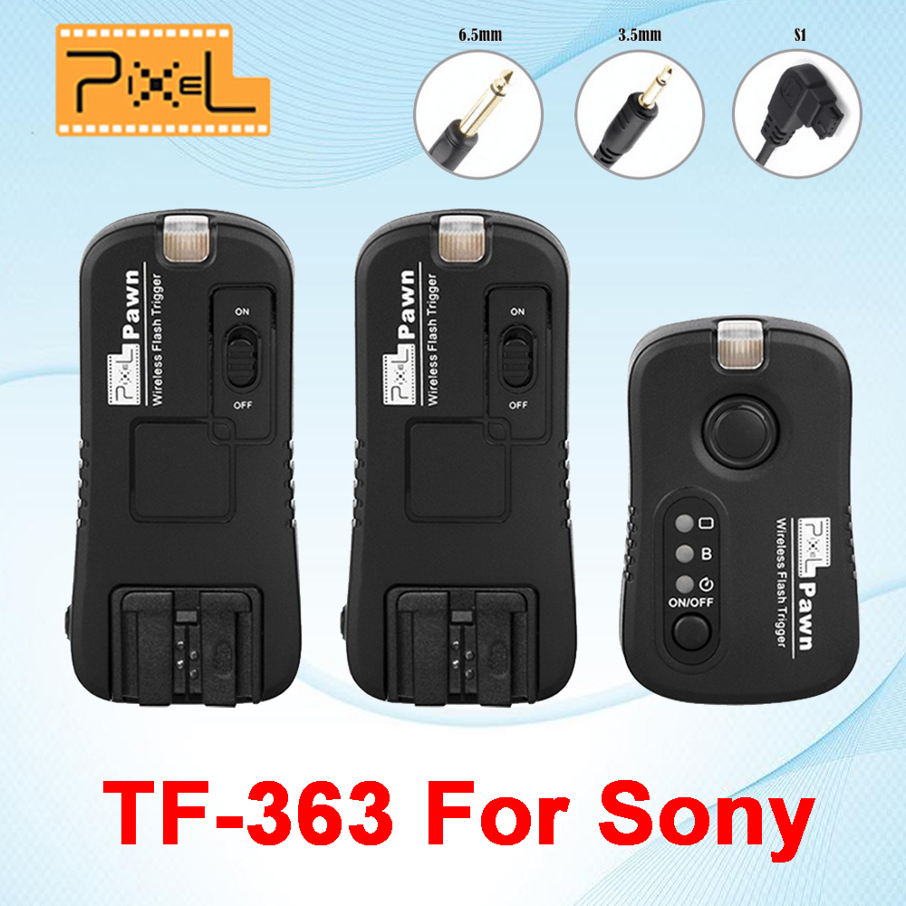 Pixel TF-363 Wireless Remote Control Shutter Release Flash Trigger 1 X Transmitter & 2 X Receivers For Sony A33 A55 A57 A77 i ttl wireless flash trigger for nikon sb910 sb900 sb700 remote control shutter release cord cable for d5000 d5100 d90 camera