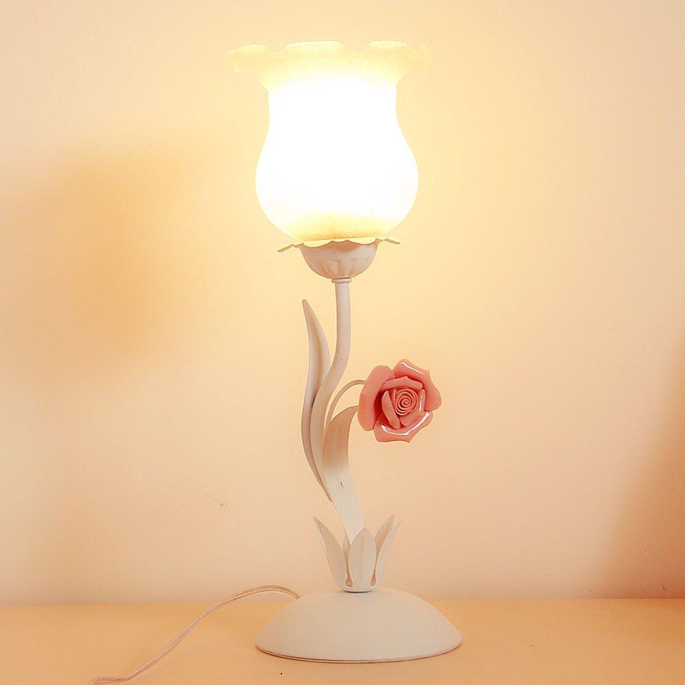Пасторальный Спальня тумбы свет стол Стекло абажур Керамика Роза Гостиная настольная лампа кабинет стол Освещение светильники