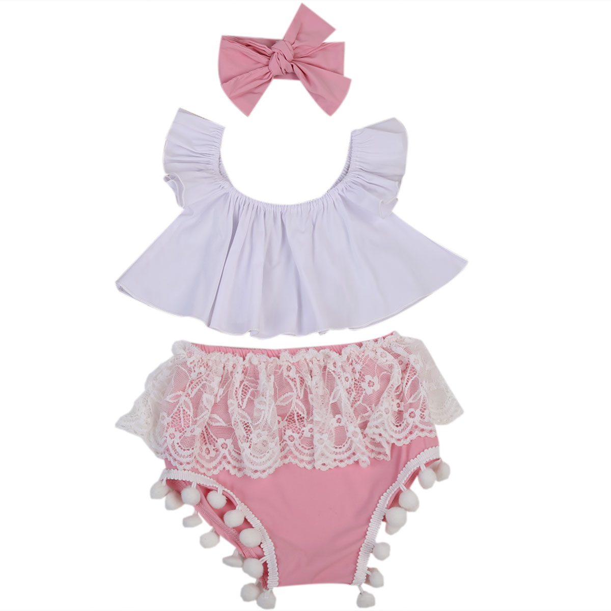 Summer Newborn Baby Girls Clothes Outfits Ruffle Crop Tops+Pink Lace Tassel Shorts 3PCS Set Cotton Toddler Infant Girls Clothing 0 24m floral baby girl clothes set 2017 summer sleeveless ruffles crop tops baby bloomers shorts 2pcs outfits children sunsuit