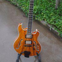 Custom Shop Langre Elecitrc Guitar SR 012 Semi Hollow Body Ebony Fingerboard Burl Maple Top Ebony Bridge