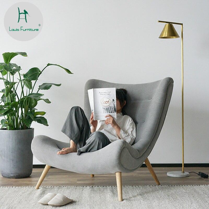 Louis Fashion Nordic Single Sofa Chair Modern Simple Lazy