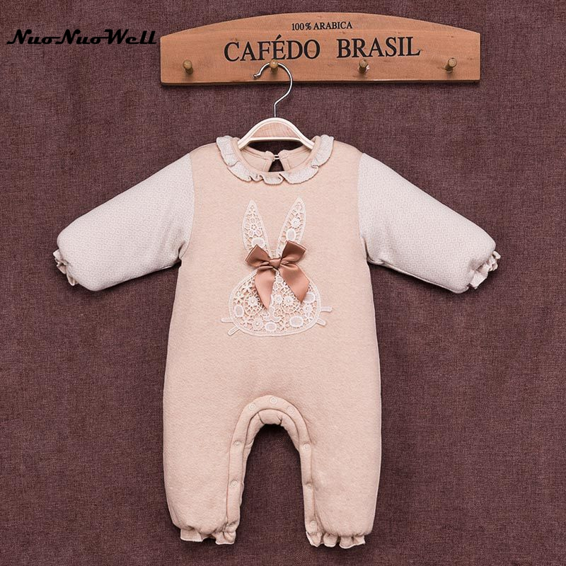 NNW 2017 Winter Newborn Baby Romper Long Sleeve Thicker Top Girls Infant Overalls with One Piece Rabbit Pattern for Toodler nnw baby winter jumpsuit newborn baby boys girls romper 2017 winter thick romper long sleeve hooded outwear infant baby overalls
