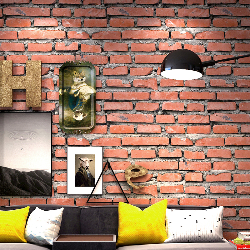 Vintage 3D Faux Brick Wallpaper Roll PVC Waterproof Red Brick Cafe Restaurant Living Room Vinyl Wall Paper Decor Papel De Parede modern personalized wallpaper roll 3d stereoscopic square wall paper waterproof pvc vinyl contact wallpapers design home decor