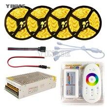 Светодиодные ленты Комплект DC12V SMD 5050 RGB RGBW диода Водонепроницаемый светодиодный Клейкие ленты + пульт дистанционного управления + Мощность питания гибкий свет ленты 20 м 5 м
