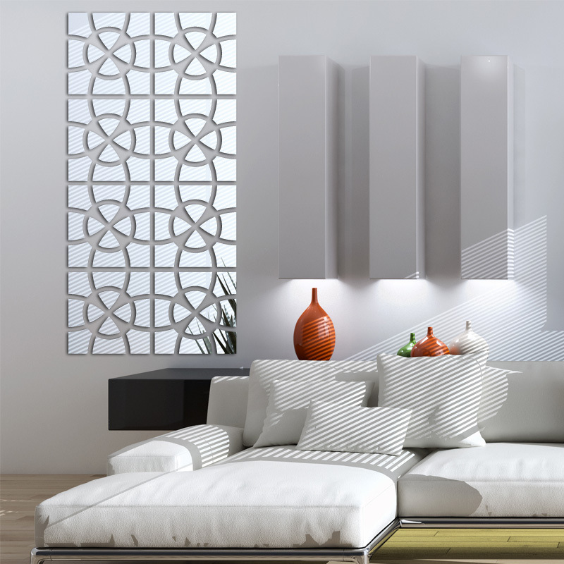 Stitching Graphics Design 3d Acrylic Mirror Wall Sticker Living Room Home Decoration Diy Mirrored Wall Decals