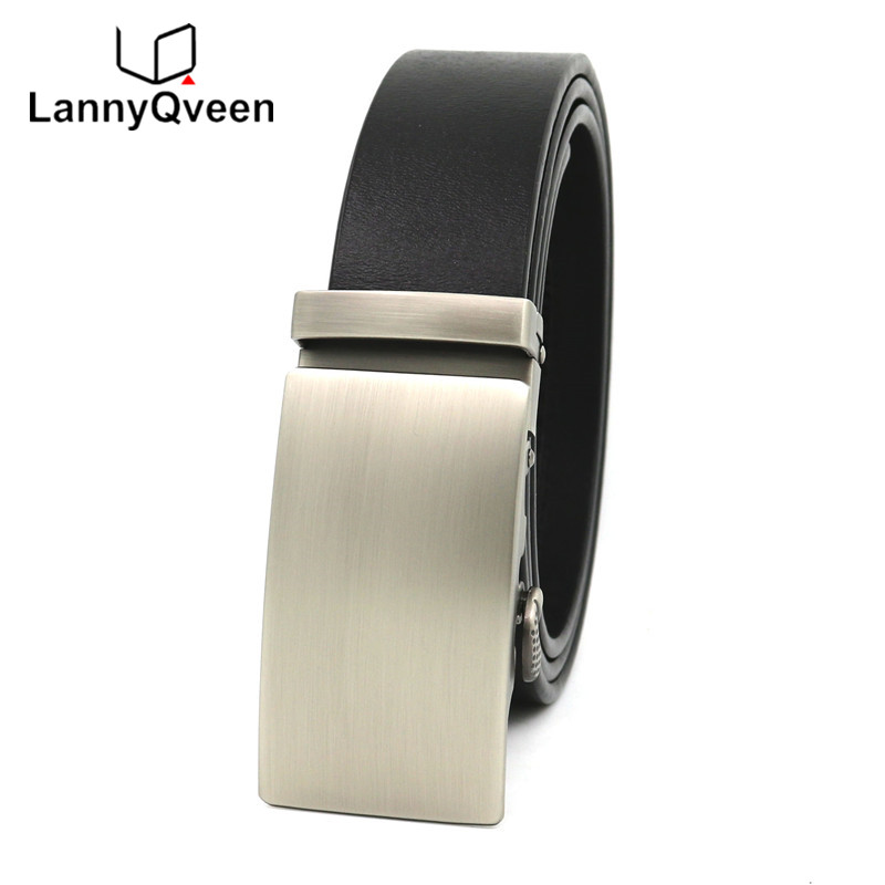 LannyQveen Men's Automatic buckle   belts   100%Genuine Leather High quality Pure Cowskin cowhide   Belt   for men free shipping