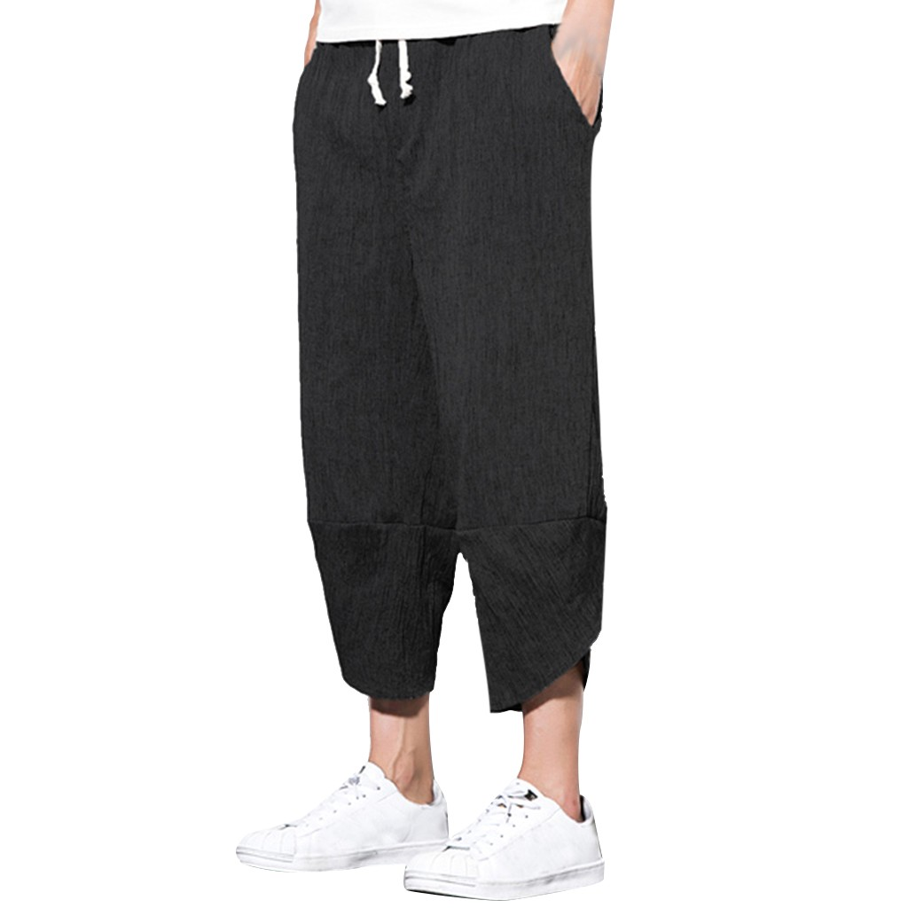 Men Trousers Joggers-Pants Lightweight Loose Summer Casual 4XL 5XL Ankle-Length Solid