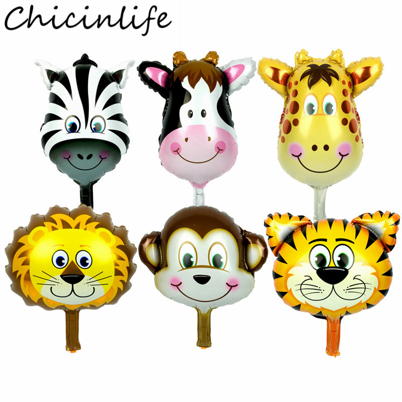 Chicinlife 1Pcs Jungle Foil Animal Head Balloons Birthday Party Monkey Lion Deer Zebra Cow Balloon KidsToys Jungle Party Supplie