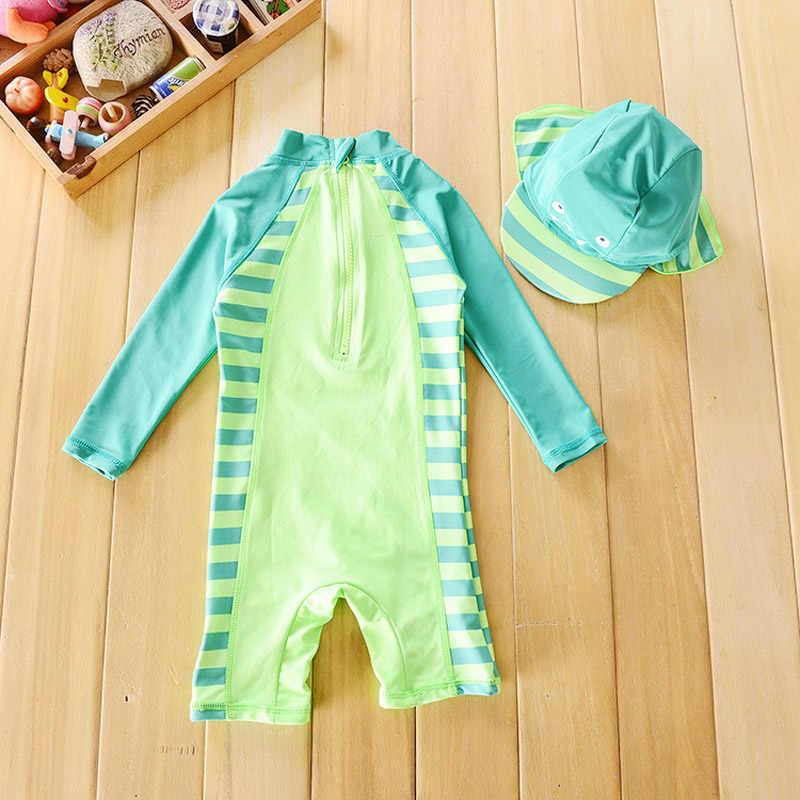 Детский купальник для маленьких мальчиков, красивая пляжная Солнцезащитная одежда с динозавром, детский купальник для маленького мальчика и шапочка в одном комплекте