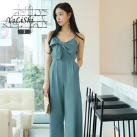 Solid Women Jumpsuits 2019 Spring Blue Sleeveless V neck Bow Full Length Loose Elegant Casual Office Jumpsuits Work Club Ladies