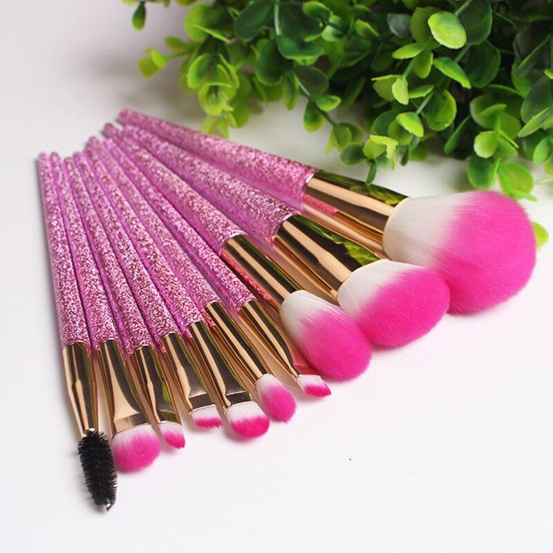 10pcs 3D Glitter Makeup Brush Set Eyeliner Shadow Brow Eyelash Lip Foundation Power Cosmetics Beauty Essentials Make Up Tool Kit baby toys