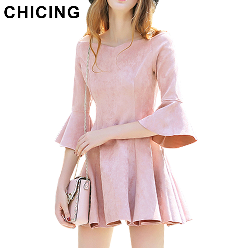 Chicing 2016 New Arrvial Suede Dresses Office Style Flare Sleeve Off Shoulder Mini Dress Fashion