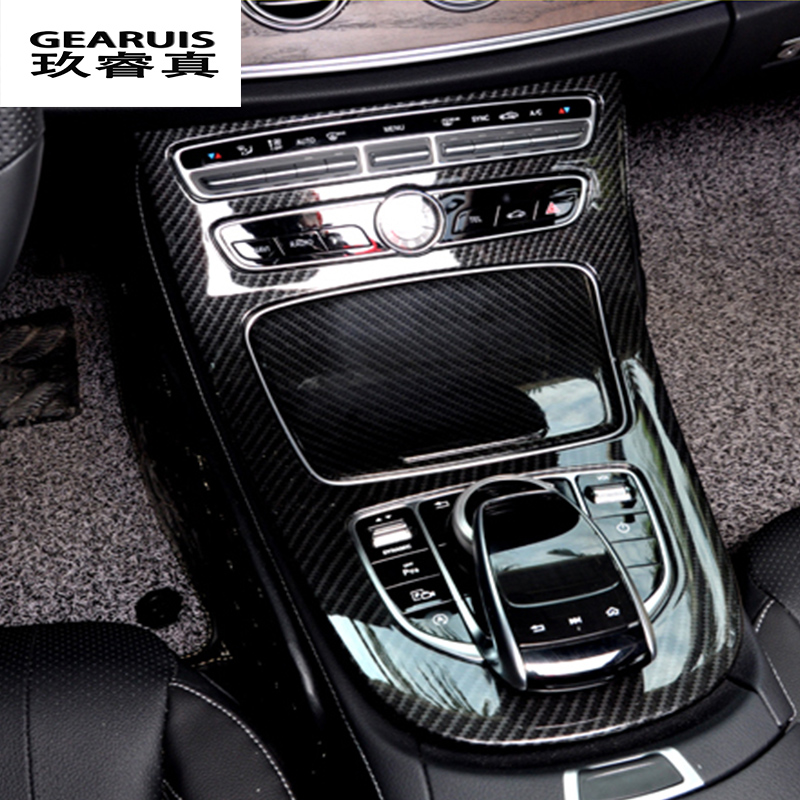 Car-styling Console Panel Cover Frame Trim carbon fiber Line Sticker For Mercedes Benz C Class W205 2015-2017 GLC Accessories best top selling new stylish decal carbon fiber skin sticker for xbox one console