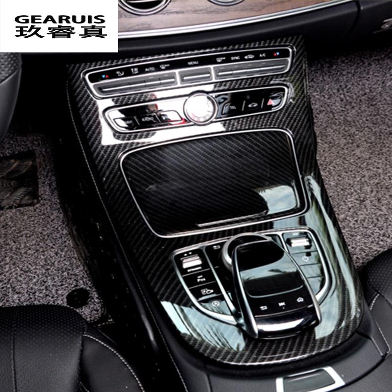 Car-styling Console Panel Cover Frame Trim carbon fiber Line Sticker For Mercedes Benz C Class W205 2015-2017 GLC Accessories carbon fiber grain abs gears shift panel trim cover frame decor sticker for chevrolet camaro 2017 car styling