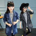 Children's jacket  Korean denim windbreaker long Coats  children's clothing 2017 autumn