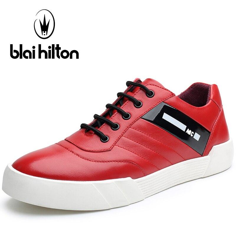 Blaibilton Red Skateboard Shoes For Men Genuine Leather Sport Shoes Man Brand Summer Breathable Massage Lace Up Men's Sneakers blaibilton summer loafers men shoes 100
