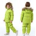 Los niños del invierno abajo chaqueta de los muchachos caliente abrigos abrigos Girls ropa 1-6 años niños mono traje de esquí para niños guardapolvos del bebé