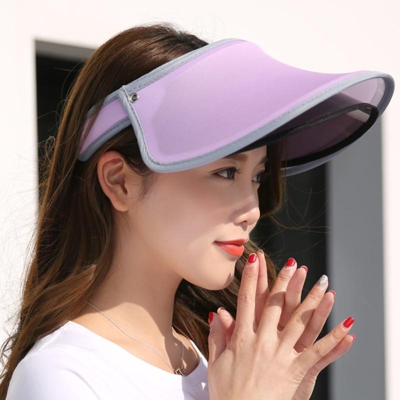 1a0bf75fbfe Double Hats Visor Female Summer Sun Empty Top Cap Solid Unisex UV Sun Hat  Woman Beach Visor Hat Plastic Uv gorras Beach hats men
