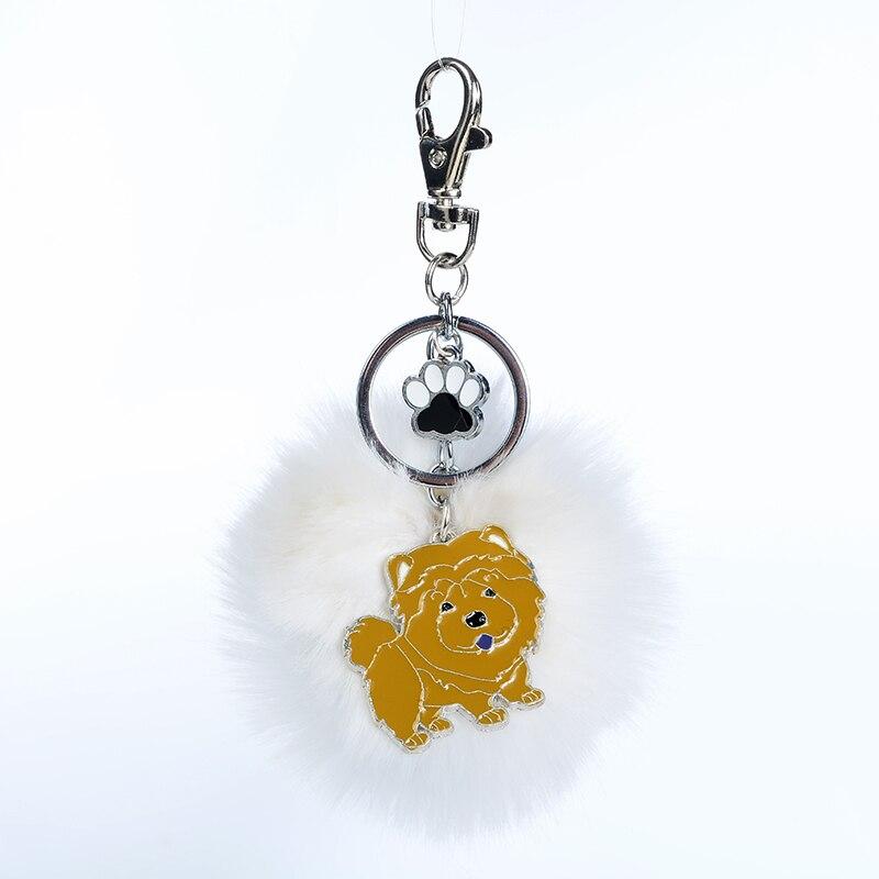 Rabbit Fur Pompom Chow Chow Key Chains For Women Men Alloy Pom Pom Ball Pet Dog Pendant Bag Charm Keyring Car Keychain Key Ring