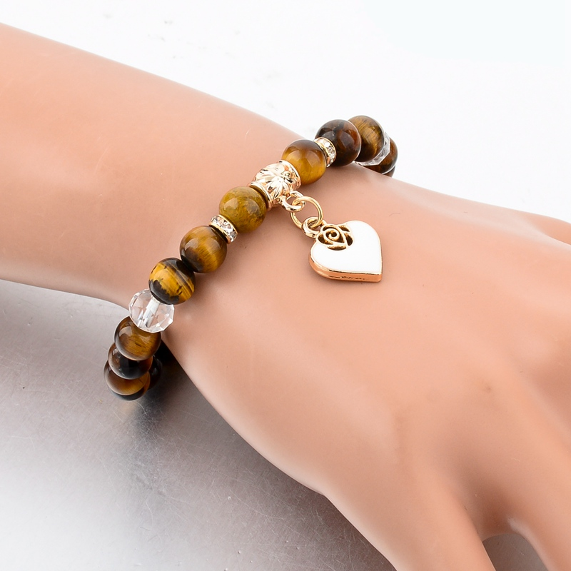 Szelam Bijoux καφέ φυσικό βραχιόλι πέτρα - Κοσμήματα μόδας - Φωτογραφία 3
