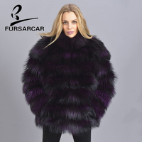 FURSARCAR Natural Real Fur Coat For Women Popular Fashion Purple Genuine Leather Coat With Fur Collar Winter Warm Fox Fur Jacket