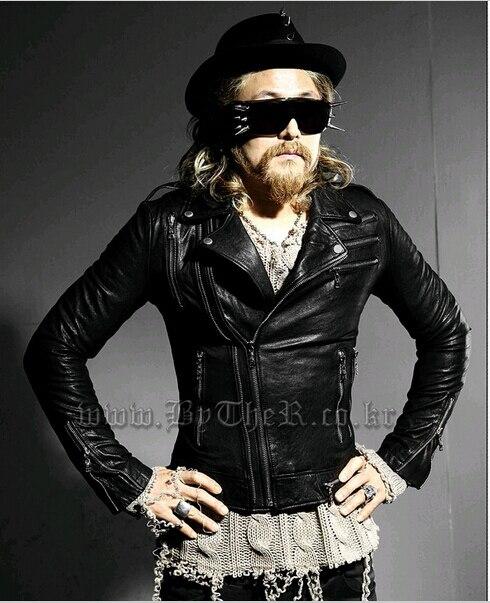2015 Готическая Мода Мужские Кожаные Куртки Пальто Черный Мотоцикл Punk Rock Байкер Красный Slim Fit Кожаная Куртка