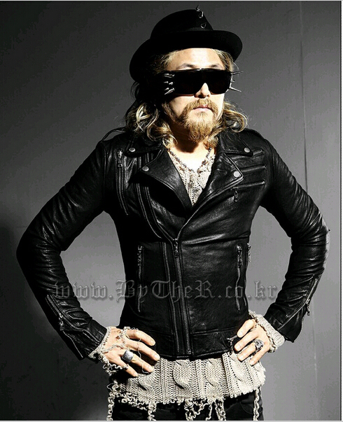 2015 Gothic Fashion Men Leather Jackets Coats Black Motorcycle Punk Rock Biker Red Slim Fit Leather Jacket