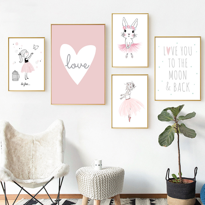 HTB16Qw8SVzqK1RjSZFvq6AB7VXaC Kids Room Cartoon Poster Children Poster Baby Girl Room Decor Wall Art Paintings Nursery Paintings for Living Room Wall Unframed