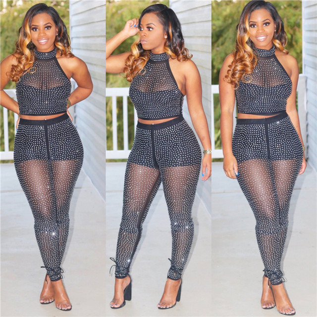 59c363ce765c Sparkly Rhinestone Sexy 2 Two Piece Set Women Sheer Mesh Glitter Crop Top  and Pants Night Club Party Matching Outfits Women Set-in Women's Sets from  Women's ...