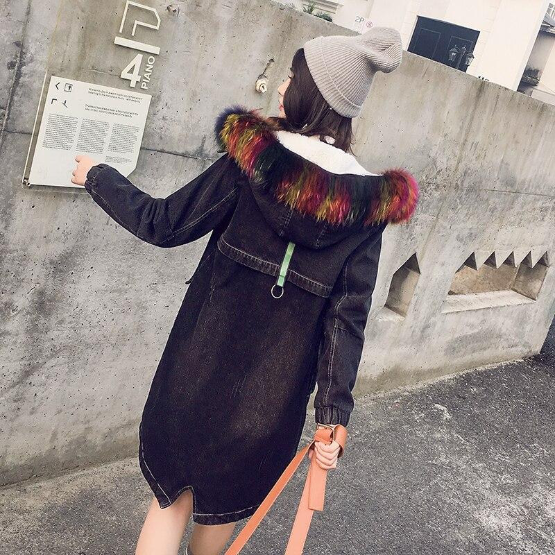 Femmes Nouvelle Femelle Capuchon Col Parkas D'hiver De 2017 H559 Photo Veste À Cowboy Grand Mince Manteau Longue Épaisse Color Denim Chaud Fourrure Mi O80XPNnwk