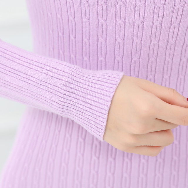 winter Thick velvet lining Turtleneck Long Sweater Women Slim Thick pullover Long-sleeved sweater