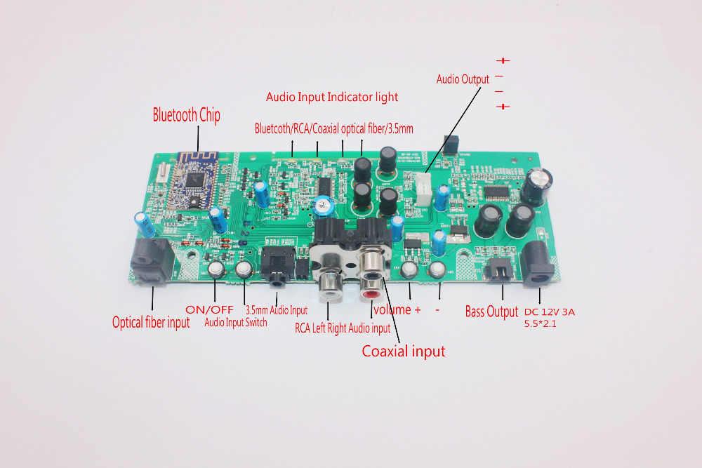Bluetooth Audio 2 1 Channel Digital power amplifier Board subwoofer Bass  Amp Coaxial optical fiber 3 5mm AUX RCA Audio Input