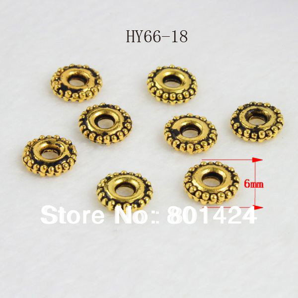 66-18 300pcs antiquated gold plated Flat Disc Metal Spacer Beads tibet jewelry components