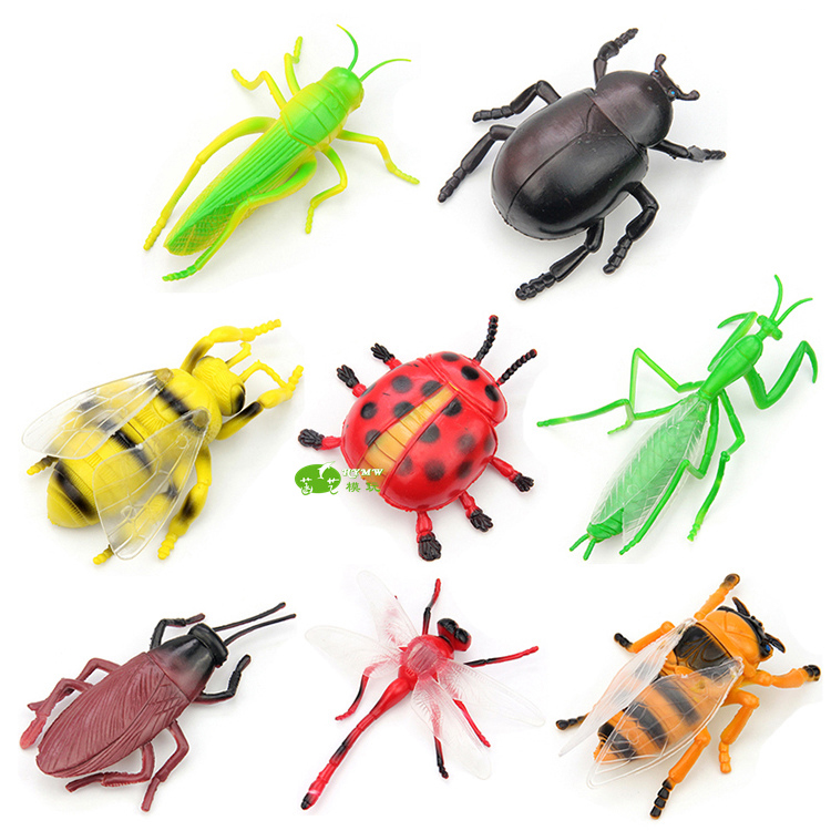 8pcs Medium Size Insect Toy Model Set Bee Cicada Beetle Dragonfly Ladybug Hexapod Decorations Figures Collection Free shipping