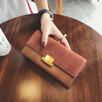 Ladies Wallets Genuine Leather Purses Women Nubuck Leather Wallets Clutch Patchwork Wallet Card Holder Cell Phone