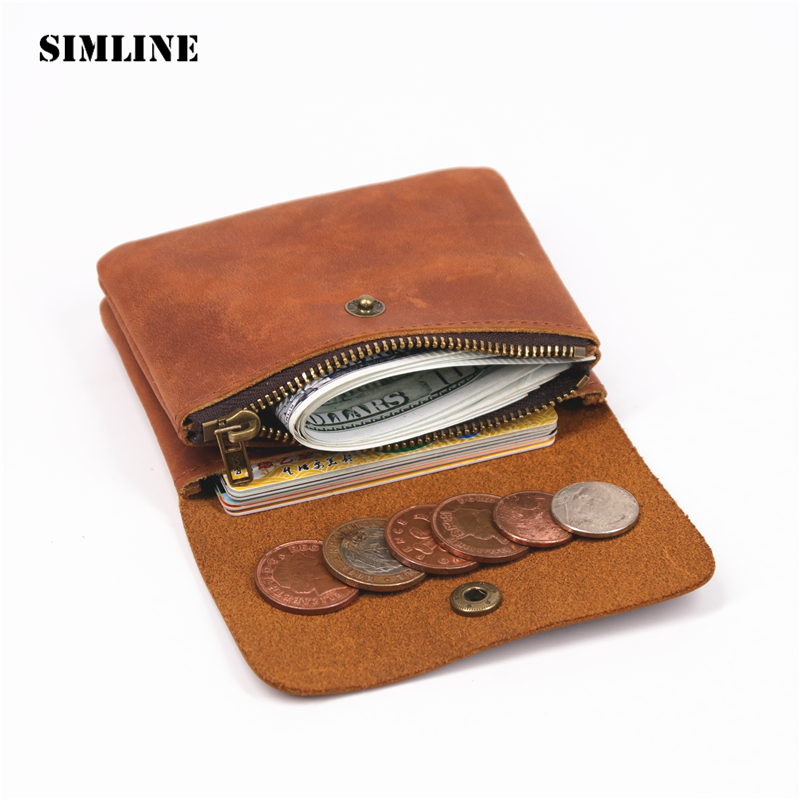 SIMLINE Genuine Leather Men Wallet Men's Women Vintage Short Small Mini Wallets Coin Purse Card Holder Zipper Pocket Carteira simline vintage genuine crazy horse cow leather men men s long hasp wallet wallets purse zipper coin pocket holder with chain
