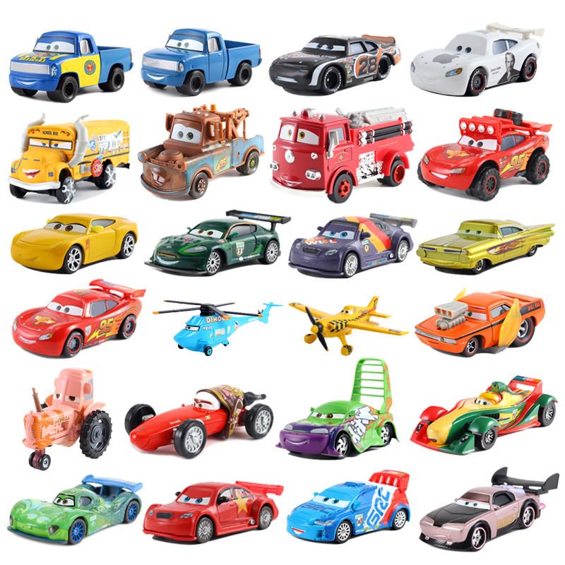Disney Pixar 2/3 Toy Car McQueen Car King 1:55 Die-cast Metal Alloy Model Toy Car 2 Children Birthday / Christmas Gift