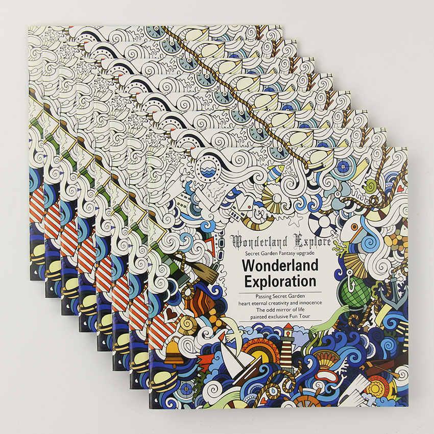 24 sayfa güzel Wonderland arama çiçek boyama kitabı boyama grafiti kitap çocuk yetişkin zaman çizim kitabı