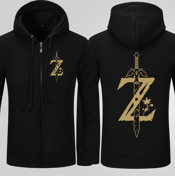 Fall Winter The Legend of Zelda Hoodie Adult Mens Black Hoodie Zipper Coat Men Jacket Sweatshirts