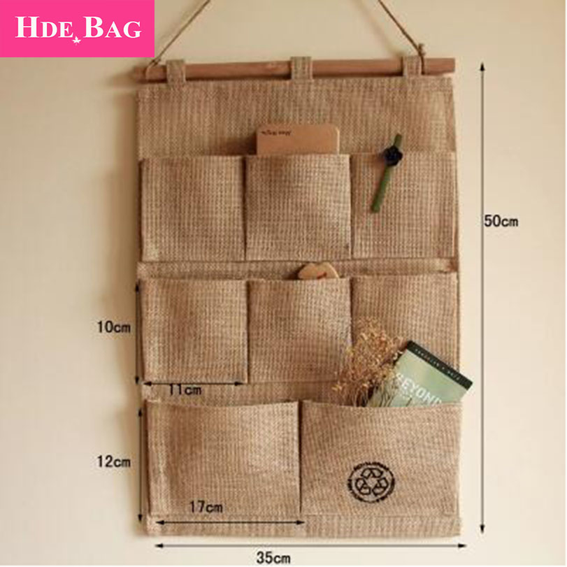 Jute Cloth Organziner For Office Hanging Pockets Home Organizador Small  Case Hang Up Storage Bags Any