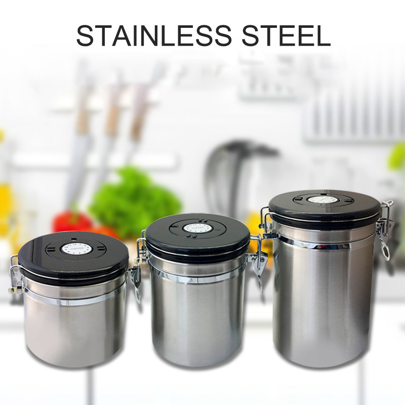 Airtight sealed lid exhaust valves coffee beans storage scale rice grain cereal jar dried fruit cans