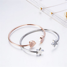 2019 Non-fading Open Fashion Bracelet Star Titanium Stainless Steel Exquisite Rose Gold Bangles For Women Jewelry