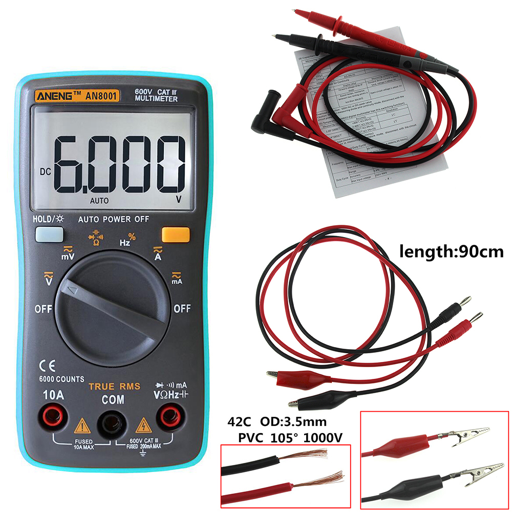 hight resolution of  auto meter voltmeter wiring diagram aneng an8001 digital multimeter 6000 counts backlight ac