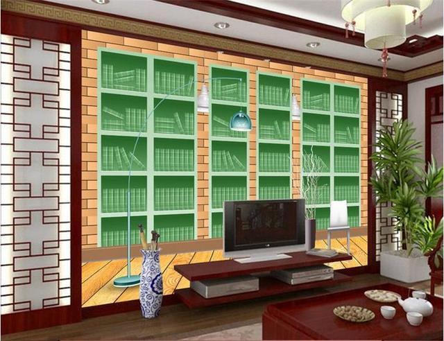 Custom Mural Wallpaper Room 3d Photo Green Stereo Bookshelf Painting Sofa TV Background Wall