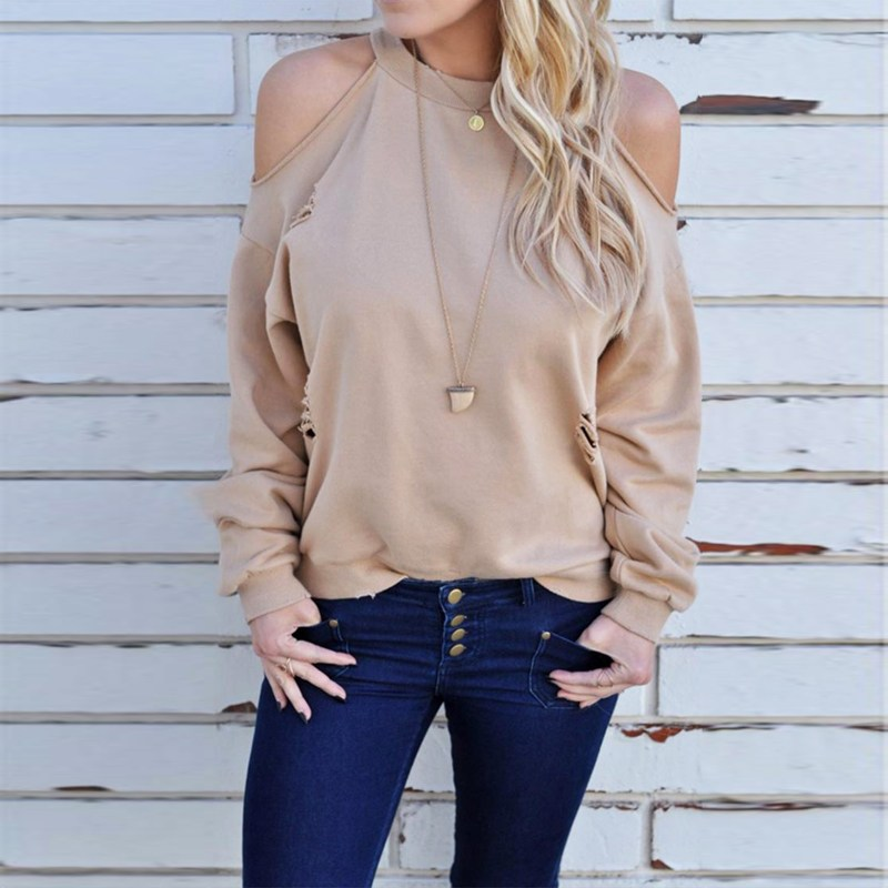Fashion ZANZEA Long Sleeve Halter Cold Shoulder Pullover Shirt Top Sexy Back Key
