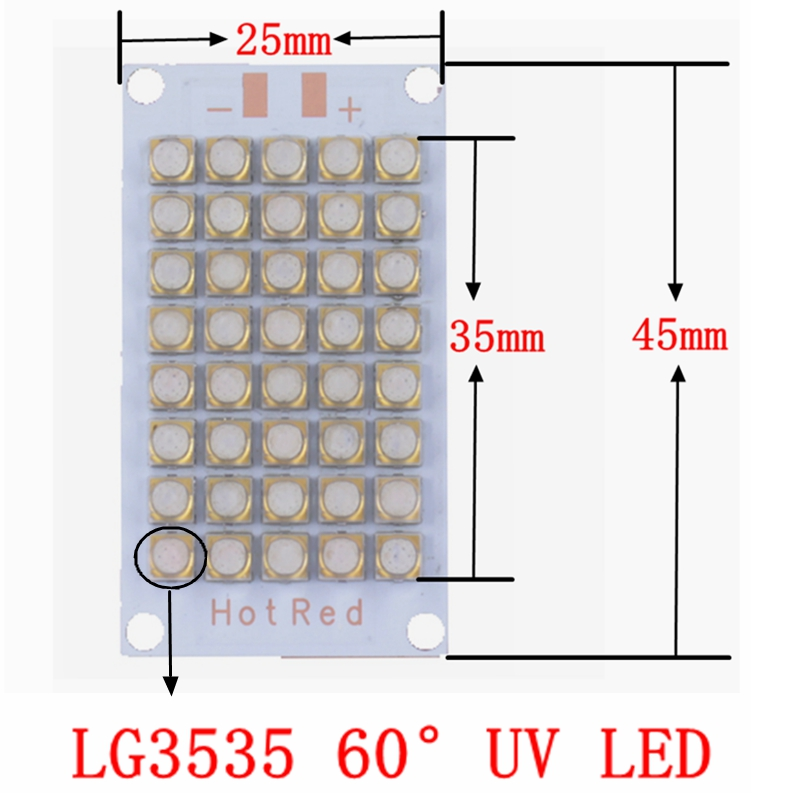 2017 New 50W 100W 120W LG3535 UV 365nm 385nm 395nm LED Chip Diode purple Ultra Violet light uv glue curing light ink,3D printer стоимость