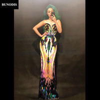 BU233 Women Sexy Long Skirt Sleeveless Full Of Colors Paillette Nightclub Party Dancer Singer Clothing Stage Wear Costume