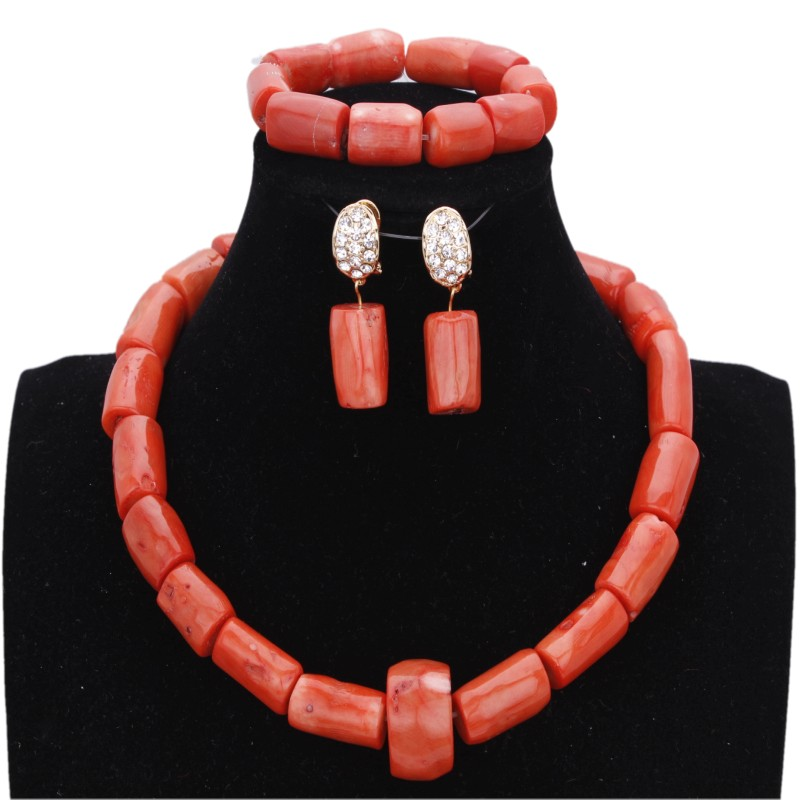 4 ubijoux collier ensemble de mariage Original perles de corail africain ensemble de bijoux pour les femmes filles nuptiale fête bijoux ensemble collier 2018