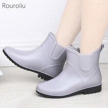 Rouroliu Non-Slip Rainboots Women PVC Waterproof Water Shoes Woman Wellies Solid Color Rain Boots Warm Socks FR7
